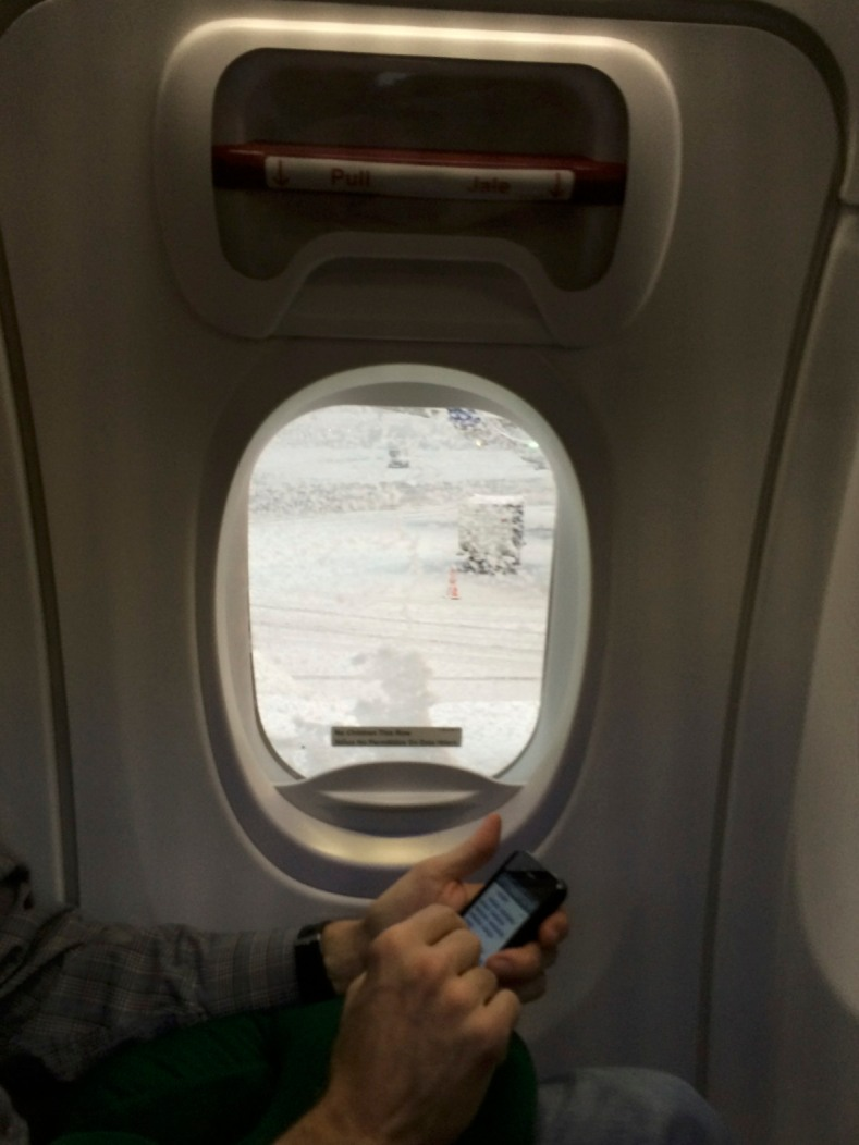 Our plane was de-iced first