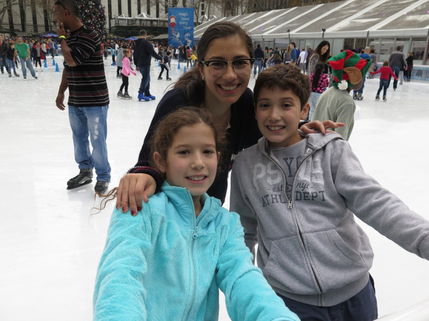 Cousins skating at Bryant Park