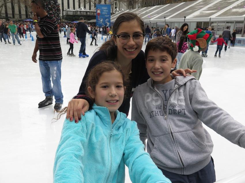 Cousins skating at Bryant Park
